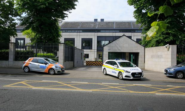 Gardai at British embassy after the incident on Saturday night