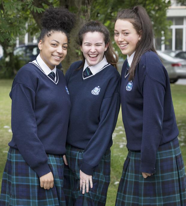 Ashley Abbedeen, Doireann Dullaghan and Nicole Doherty, who sat their Leaving Cert biology exam at Our Lady's College, Greenhills, Drogheda