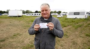 Traveller, Tommy Doran, light and life missions pictured in a field where caravans have parked in Portmarnock