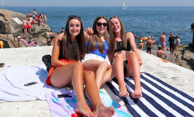 Alison Brady, Caitlin Barry and Abby Ryan, from Crumlin, at the Forty Foot. Photo: Colin Keegan/Collins Agency