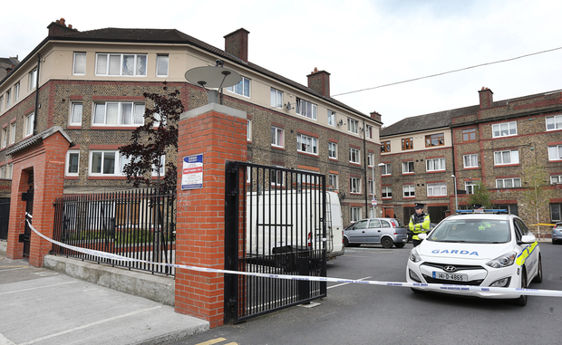 Gardai at the scene of the fatal shooting where Gareth Hutch