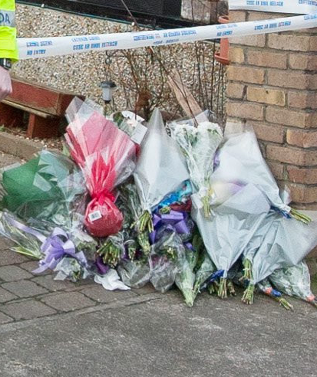 Flowers left at the crime scene