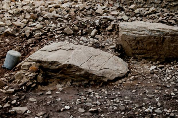 Some of the unearthed pieces of kerbstone found at the site