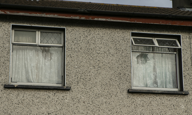 Broken panes of glass can clearly be seen at the house in Tallaght