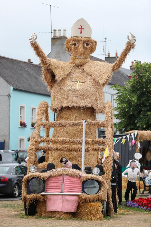 A Pope and Pope Mobile made from hay which forms the centre piece of the Durrow Scarecrow festival in Durow, Co Laois