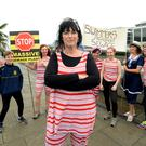 Moira Cassidy and the year-round sea swimmers protest against the construction of a waste water plant in Clonshaugh