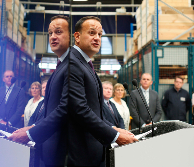 Leo Varadkar, visiting a Donegal firm yesterday (also inset) said he was disgusted by the leak. Photo: PA