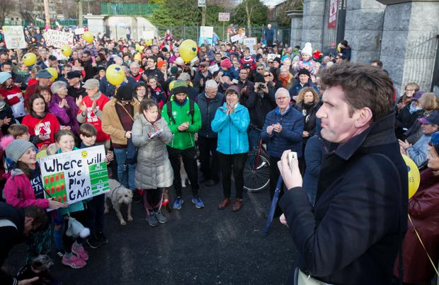 Senator Aodhan O'Riordain during a Public Protest walk over a proposed housing development adjacent to St. Anne's Park in Raheny, Dublin. Photo: Collins Dublin, Gareth Chaney