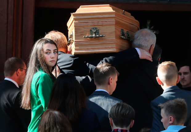 The coffin of Emma Mhic Mhathuna enters the Pro Cathedral in Dublin. Photo: PA