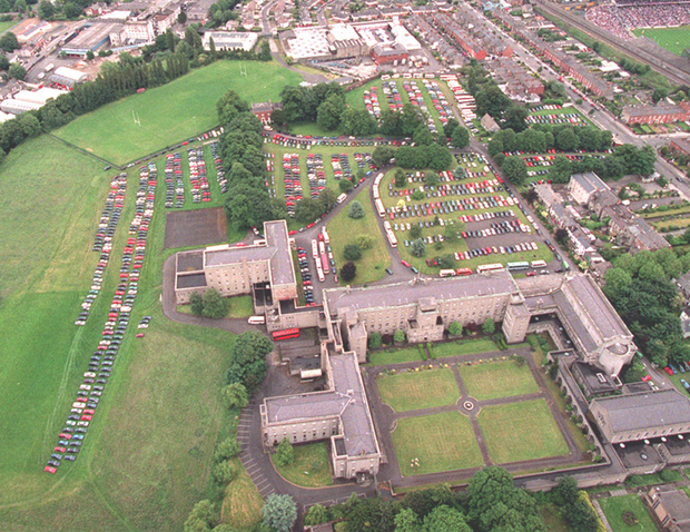 An aerial view of the Holy Cross College site in Drumcondra, with Croke Park in the background