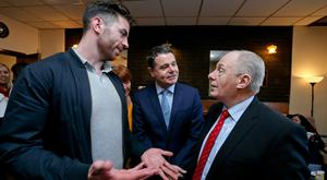 Dublin star Michael Darragh Macauley with ministers Paschal Donohoe and Michael Ring at the announcement of the €5.5m investment for Dublin's north east inner city