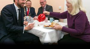 Minister Eoghan Murphy has tea at the opening