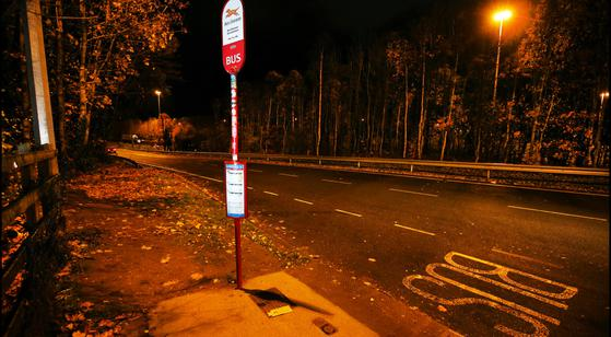 The isolated bus stop where the 20-year-old student was mugged