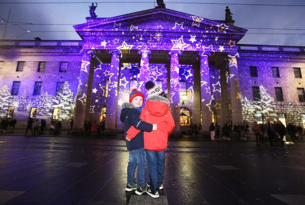 JJ Doyle (5) and Christian Doyle (4) at Dublin's GPO for Winter Lights.