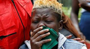 A family member of a victim at Chiromo morgue