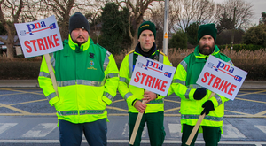 Striking PNA members Daniel Rodz, Stephen Wilson and Paul Darby. Photo: Collins
