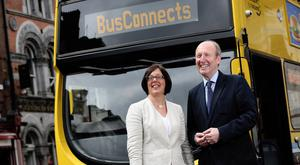 NTA chief Anne Graham and Transport Minister Shane Ross