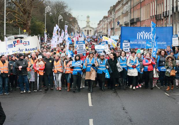 Nurses during the rally at Merrion Square