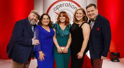 The Operation Transformation leaders celebrating 10 stone 7 lbs weight loss. Cathal Gallagher (far left)