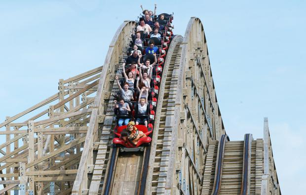 The Cu Chulainn wooden roller coaster at Tayto Park