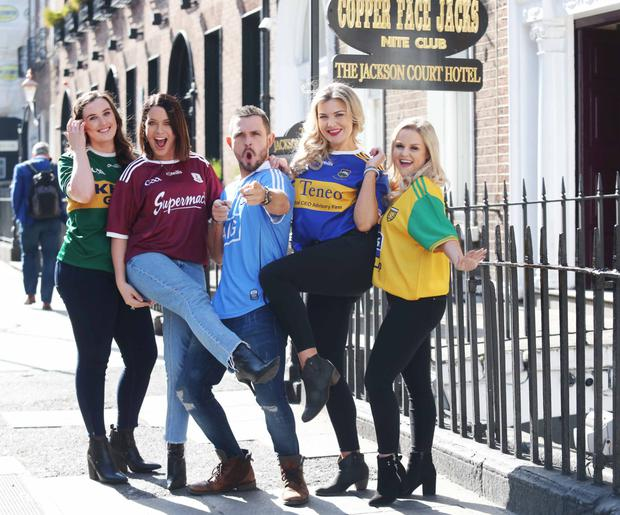 Johnny at Coppers with co-stars Roseanna Purcell, Michele McGrath, Rachel O'Connell and Kelly Marie Ni Cheallaigh. Photo: Leon Farrell