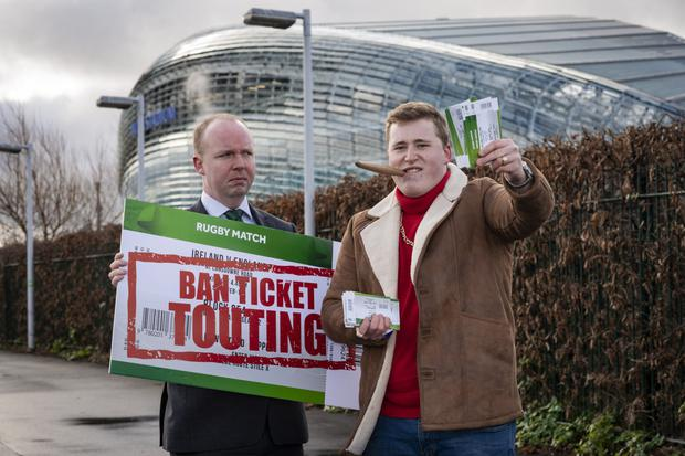 Fine Gael TD Noel Rock (left) campaigning for the banning of touting Photo: Doug O'Connor