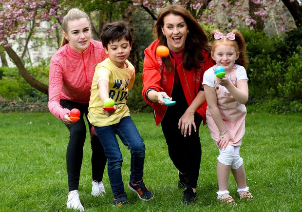 PIC SHOWS: Mairead Ronan with from left Marisa O'Meara, Daniel Kirrane, aged 6 and from right Faye McLoughlin, aged 8, celebrating all the exciting activities that will be taking place at