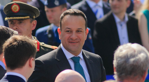Taoiseach Leo Varadkar at the 1916 Commemoration at the GPO yesterday morning. Photo: Collins Dublin, Gareth Chaney