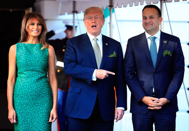 US President Donald Trump and his wife, Melania, welcome Leo Varadkar to the White House in March last year (AP Photo/Manuel Balce Ceneta)