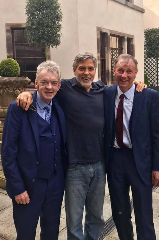 George Clooney with Andy Ring and Seamus Clooney at Ballyfin