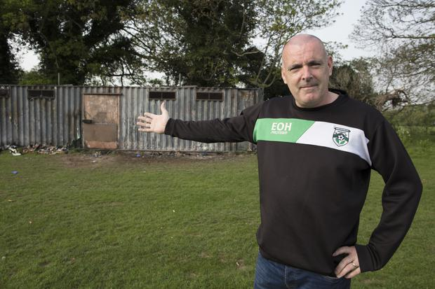Beechpark's chairman Eamon O'Hara at the club's changing rooms which were destroyed after being set on fire. Picture: Arthur Carron
