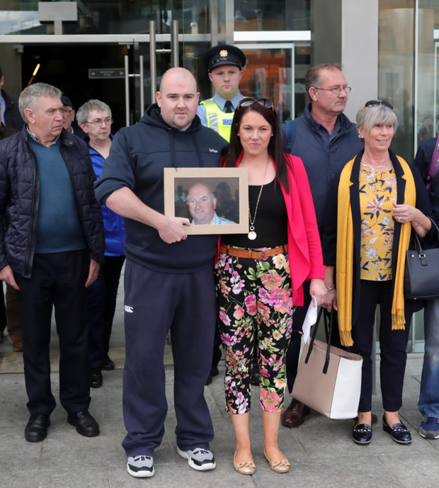 Bobby Ryan's family outside the court after Patrick Quirke was found guilty