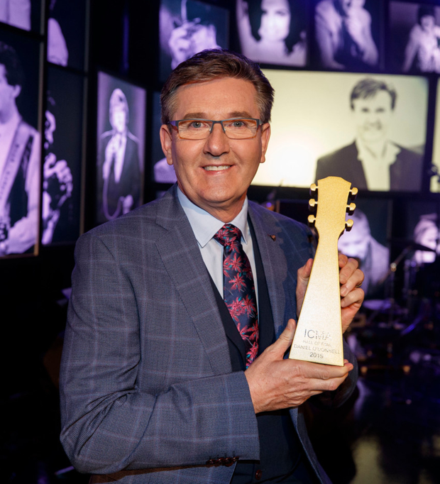 Daniel O'Donnell with his induction award on The Late Late Show