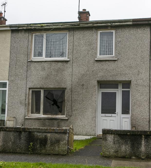 Fire damage and a broken window at the house in Drogheda