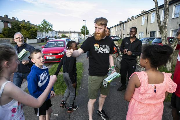 Sinn Fein Canditate Paddy Holohan canvassing for the local elections in Tallaght.