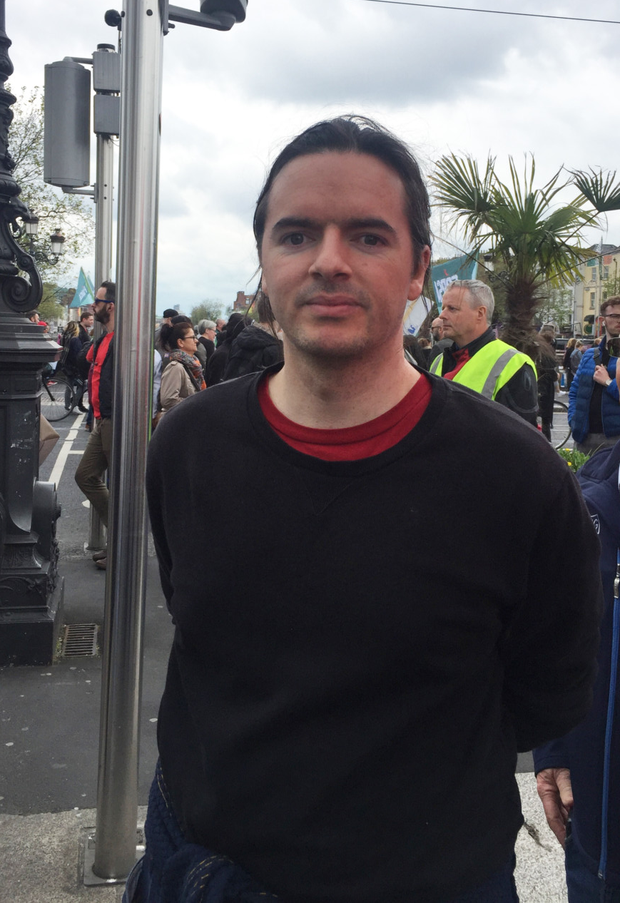 Thomas Murray at the housing march in Dublin on Saturday