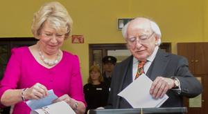 President Michael D Higgins and wife Sabina cast their votes
