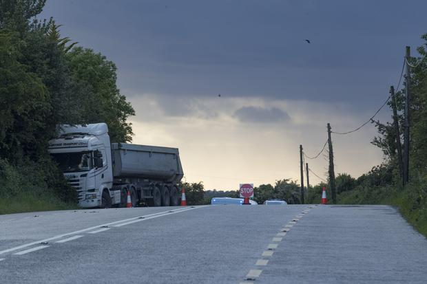A lorry at the side of the road after the crash outside Tullamore in Co Offaly