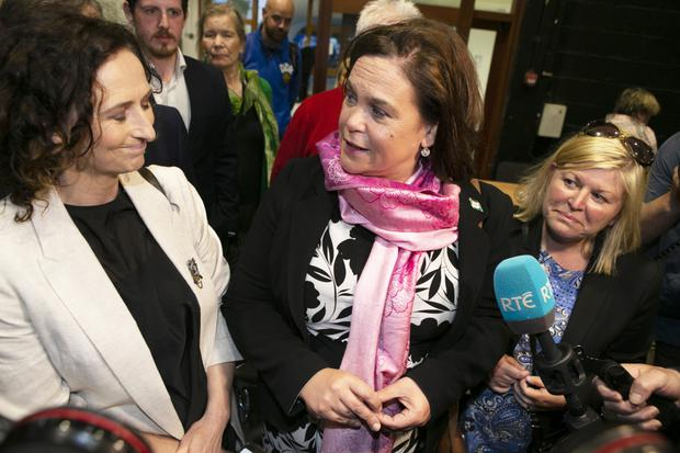 Sinn Fein's Lynn Boylan with party leader Mary Lou McDonald at the count in the RDS