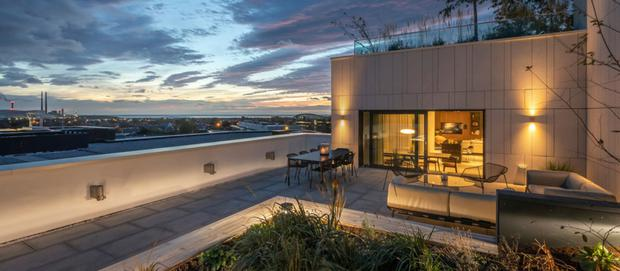 The roof terrace has views over Dublin Bay
