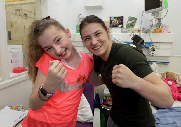 Katie Taylor with Molly Tunnicliffe, age 11 from Raheny