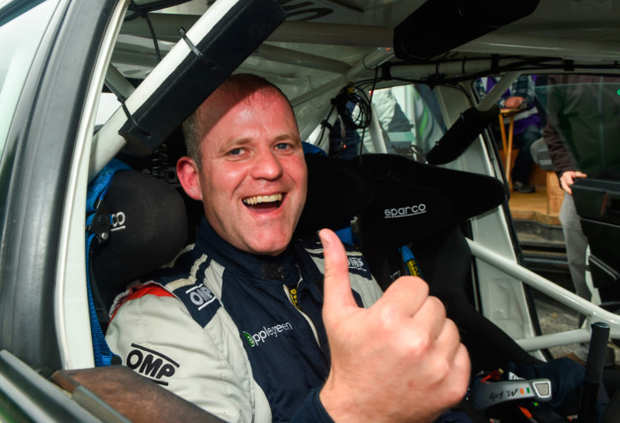 Rally driver and FF councillor Manus Kelly in his car