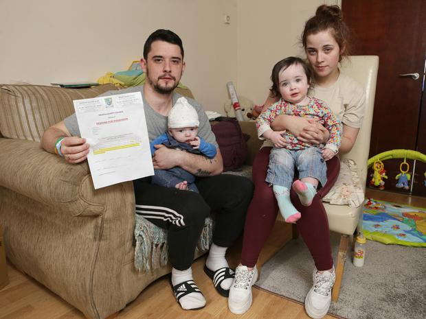 Melissa Wilde and her partner Patrick Hand with their children, Cyra, 1, and Levi, 3 months. Photo: Damien Eagers / INM