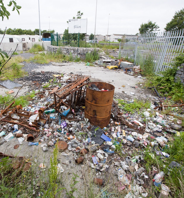 The former Crosson Car Garage lands at Clarehall have become a dumping ground