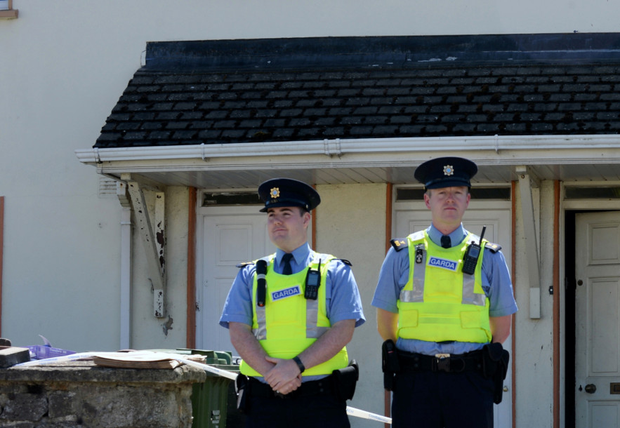 Forensic investigators were among gardai at the scene of the incident on Sandy Road, Rush. Picture: Collins