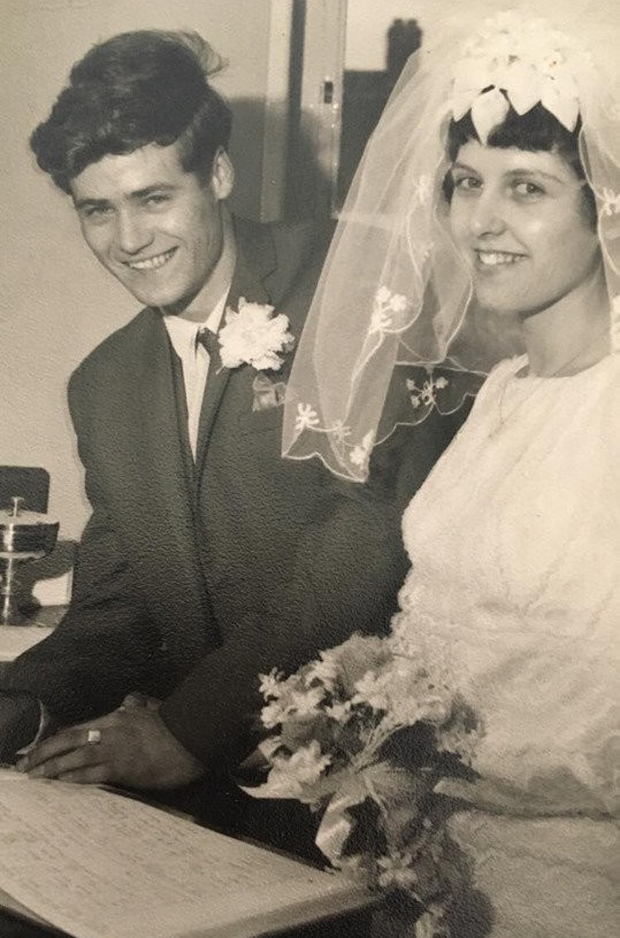 John Byrne and wife Jenny on their wedding day
