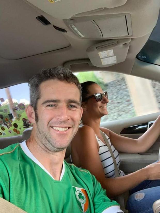 Keith Byrne and his wife Keren on the way home