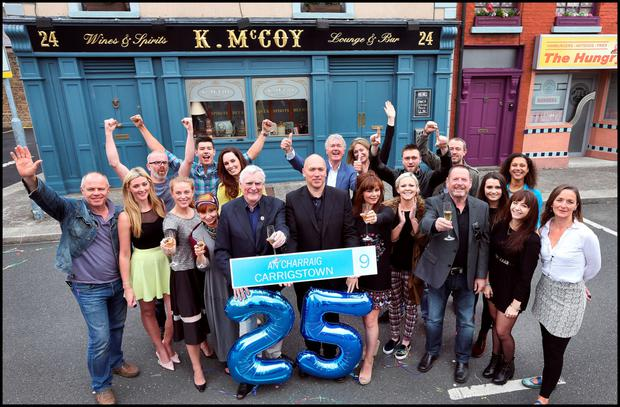 The cast of Fair City during previous celebrations to mark the 25th anniversary of the popular RTE soap