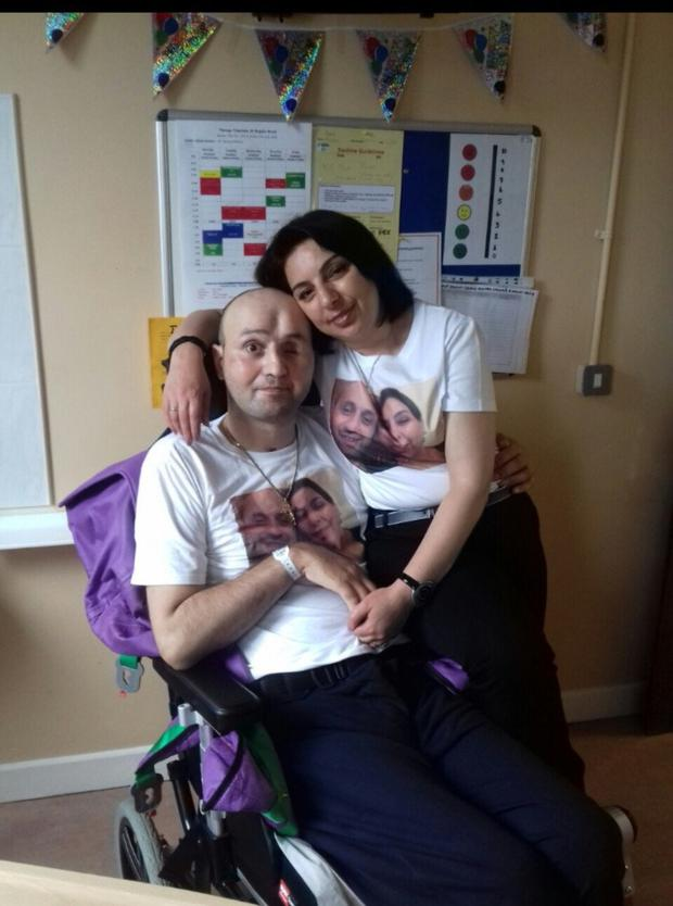 Ilabek and Anzhela celebrate his 40th birthday in hospital.