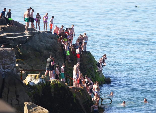 Swimmers at the Forty Foot. Photo: INM